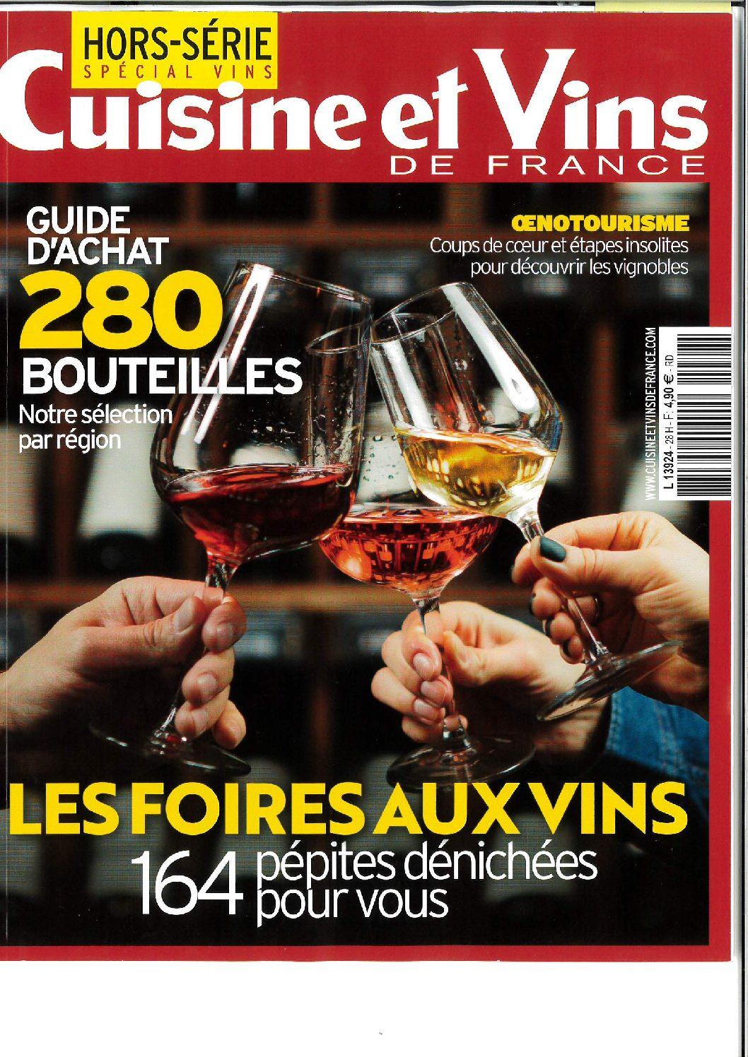 Parution dans le magazine Cuisine et Vins de France Hors-série – vins 2021